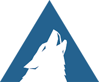 Arctic Wolf logo with white wolf howling on a blue background.